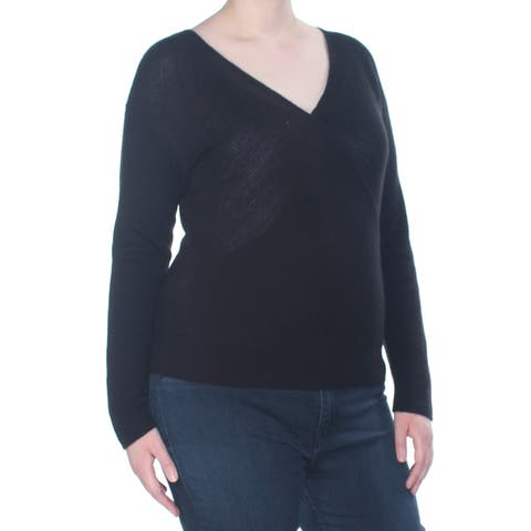 BAR III Womens Black Surplice Long Sleeve Sweater Size: XL