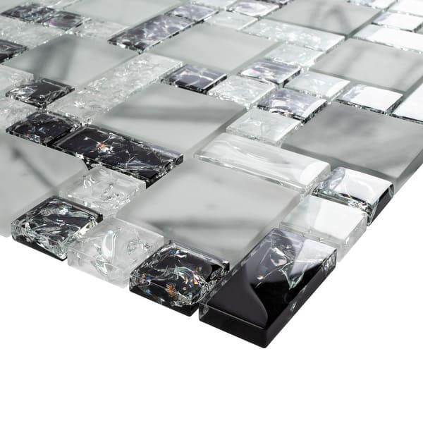 Tilegen Crushed 1 X 2 Crackle Glass Mosaic Tile In White Black Wall Tile 10 Sheets 9 6sqft Overstock 27973257