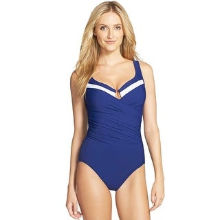 Miraclesuit Womens New Sensations One-Piece Surplice Swimsuit Marine Blue 16