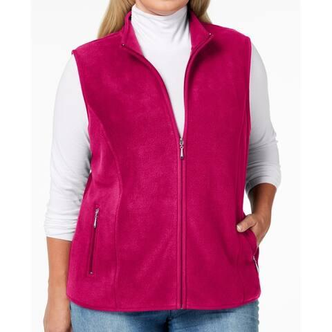 Karen Scott Women Vest Hot Pink Size 2X Plus Dual Pocket Fleece Full Zip