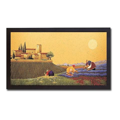 Hillside Flowers by Lowell Herrero Black Floater-Framed Canvas Giclee Art (20 in x 38 in Framed Size)