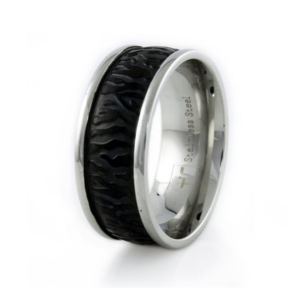 Stainless Steel Men's Leather Ring 9mm