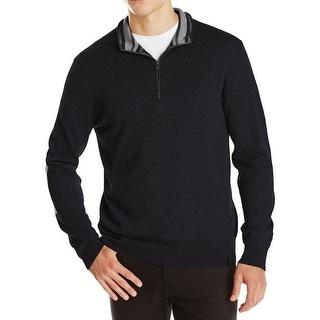 Calvin Klein CK Sweater Large L Black Quarter-Zip Mockneck Pullover