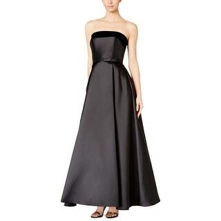 Xscape Womens Petites Dress Velvet Trim Strapless
