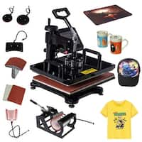 Costway 6 in 1 Heat Press Machine Digital Transfer Sublimation T-Shirt Mug Hat Plate Cap - Black