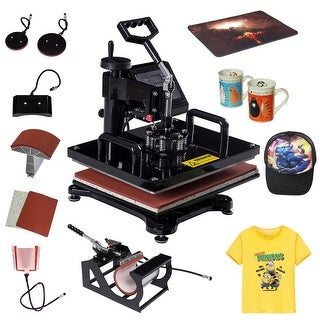 Costway 6 in 1 Heat Press Machine Digital Transfer Sublimation T-Shirt Mug Hat Plate Cap