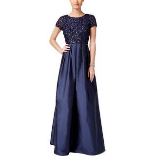 Adrianna Papell Womens Evening Dress Beaded Scoop Back
