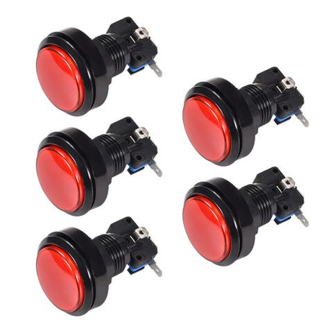 Game Push Button 46mm Round 12V LED Illuminated Push Button Switch 5pcs - Red