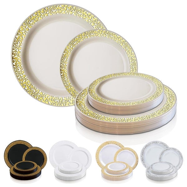 Shiny Lace Rim Disposable Plastic Plate Packs - Party Supplies. Opens flyout.