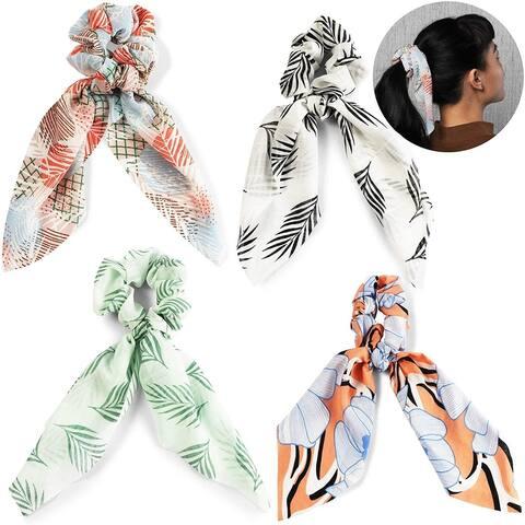 4-Piece Long Bowknot Hair Scrunchies, Chiffon Hair Scarfs Secure Ponytails