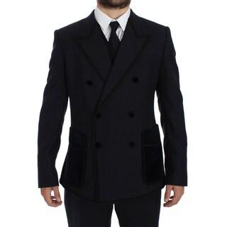 Dolce & Gabbana Dolce & Gabbana Blue Wool Torero Slim 3 Piece Suit Tuxedo - it52-xl