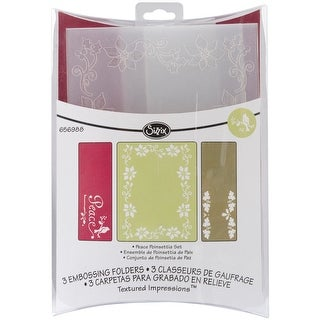 Sizzix Textured Impressions A6 Embossing Folders 3/Pkg-Peace Poinsettia