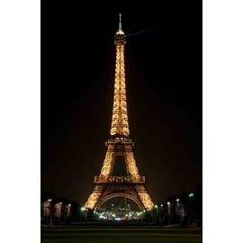 "LED Lighted Famous Eiffel Tower Paris France at Night Canvas Wall Art 23.5"" x 15.75"""
