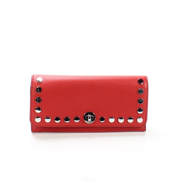e8dcd45ae8a5 Shop Michael Kors Bright Red Rivington Stud Leather Large Wallet ...