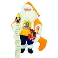 "15"" NCAA LSU Tigers Santa Claus Christmas Figure with Nutcracker and Stocking - GOLD"