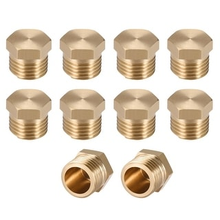 "Brass Pipe Fitting Cored Hex Head Plug 1/4""G Male Connector Coupling 10pcs - 1/4"" G 10pcs"