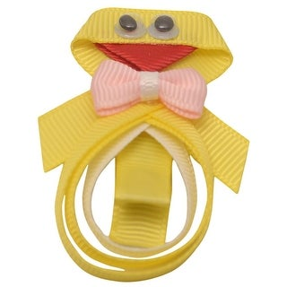 Girls Yellow Pink Cute Duck Shape Grosgrain Alligator Hair Clippie