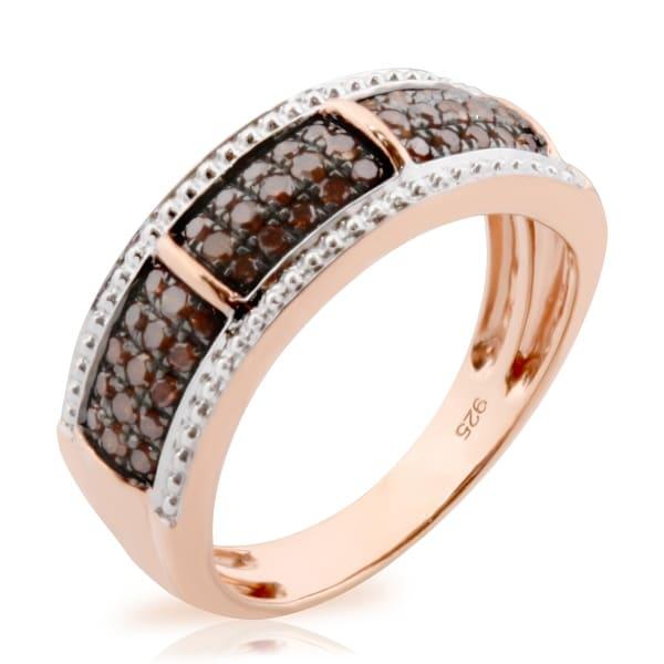 Prism Jewel 0.37Ct Round Brilliant Cut Cognac Color Diamond Anniversary Ring