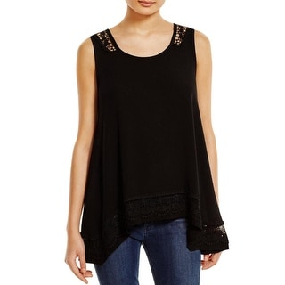 Cirana Womens Casual Top Rayon Lace Trim
