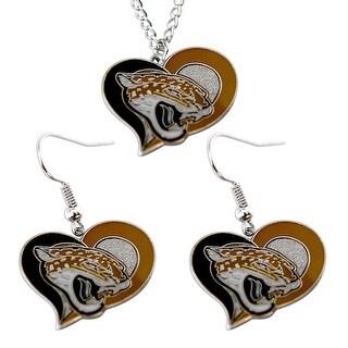 Jacksonville Jaguars Jags Swirl Heart Necklace & Earring Set NFL Charm Gift