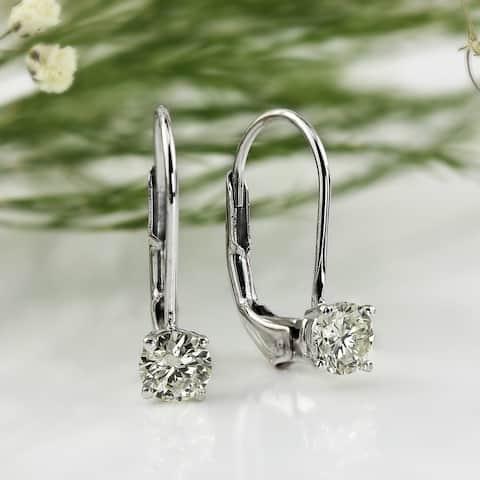 Auriya Round Solitaire Diamond Earrings 1 carat TW 14K Gold - 5mm