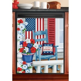 Patriotic Porch Magnetic Dishwasher Cover