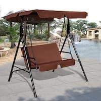 Costway Loveseat Patio Canopy Swing Glider Hammock Cushioned Steel Frame Outdoor Coffee - Brown