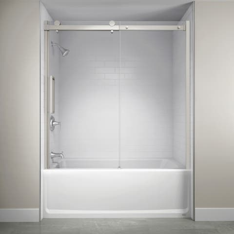 "Jacuzzi SX59 59"" High x 60"" Wide Sliding Semi-Frameless Tub Door with Clear Glass -"