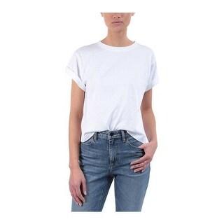 3x1 Women's Cropped Cotton Boyfriend Tee White