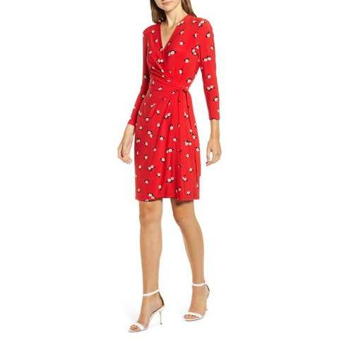 ANNE KLEIN Red 3/4 Sleeve Above The Knee Dress XS
