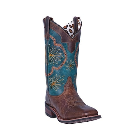 Laredo Western Boots Womens Forget Me Not Stitched Flowers Blue
