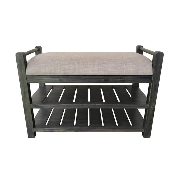 Shop Schuyler Cushioned Bench With Shoe Rack On Sale Overstock 31690898