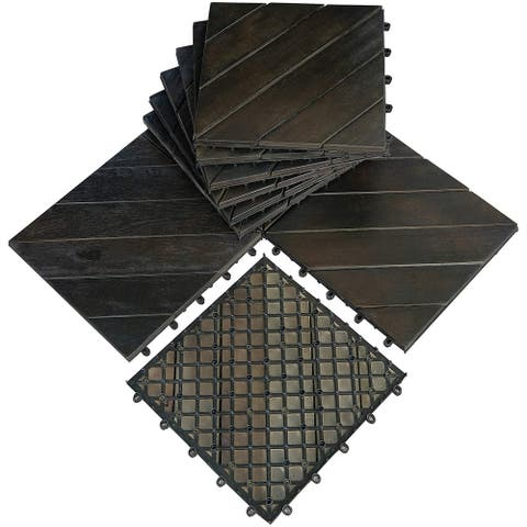 "Mcombo 10Pcs Patio Wood Deck Tiles 12""x12"",Outdoor Interlocking Deck Flooring Oiled Finish,Patio Paver Tiles 6083-WF01/02-BK/WD"