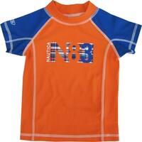 "Nautica Baby Boys Orange Royal Blue ""N83"" Rash Guard Swim Shirt 12-24M"