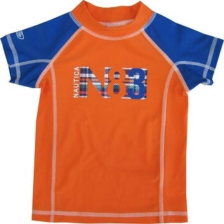 "Nautica Baby Boys Orange Royal Blue ""N83"" Rash Guard Swim Shirt 12-24M"