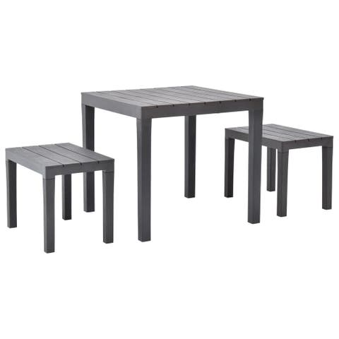 vidaXL Garden Table with 2 Benches Plastic Brown