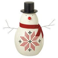 "14"" Alpine Chic Large Decorative Snowman Christmas Table Top Figure - White"