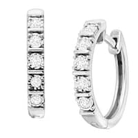 1/4 ct Diamond Square Tube Hoop Earrings in Sterling Silver