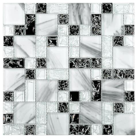 "TileGen. Crushed 1"" x 2"" Crackle Glass Mosaic Tile in White/Black Wall Tile (10 sheets/9.6sqft.)"