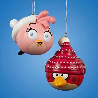 "3.25"" Angry Birds Pink Glitter Bird Decorative Christmas Ornaments"