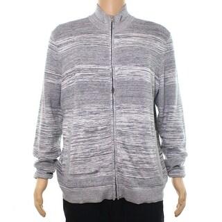 Alfani Mens Full Zip Mixed Media Longsleeve Sweater
