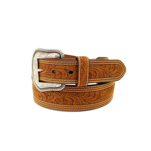 Nocona Western Belt Mens Tapered Scroll Embossed Stitching