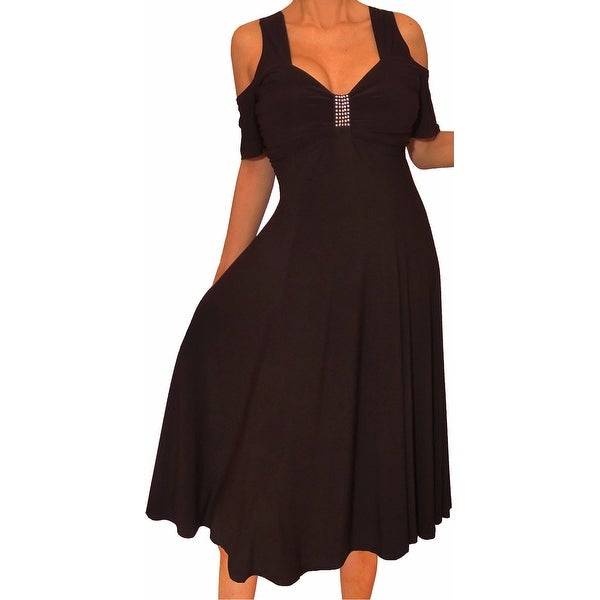 Funfash Plus Size Women Open Cold Shoulders Black Dress Made in USA