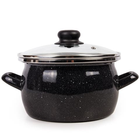 STP Goods Enamel on Steel 5.3-quart Pot with a Glass Lid-Gray Granite