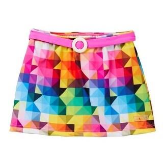 Azul Girls Pink Multi Color Diamond Generation Y Swim Belted Skirt