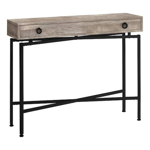 """Offex 42""""L Contemporary Taupe Reclaimed Wood-Look Accent Console Table with Black Metal Base and Storage Drawer"""