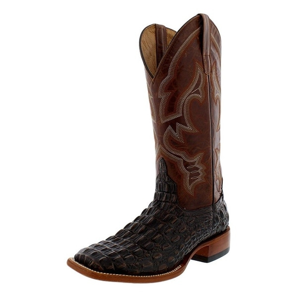 Horse Power Western Boots Men Caiman Print Pull Tabs Saddle Tan