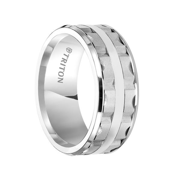 LOWELL White Tungsten Carbide Wedding Band with Split Matrix Pattern and Polished Center Stripe by Triton Rings - 9 mm