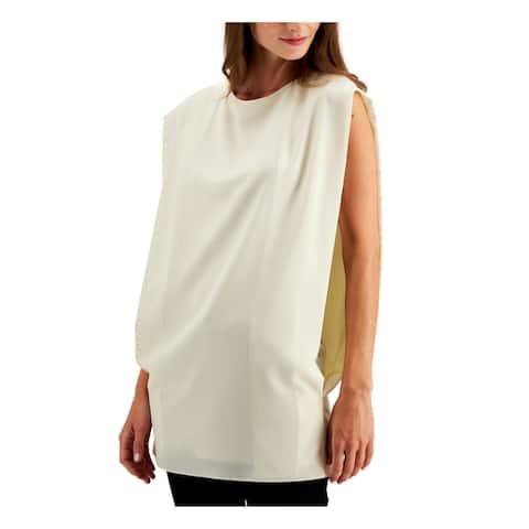 ALFANI Womens Ivory Solid Sleeveless Jewel Neck Top Size XL