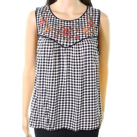 Eyeshadow Womens Tank Top Black Size Small S Floral Embroidered Gingham